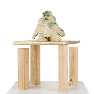 Crone, 2015, wire, ceramic, wood